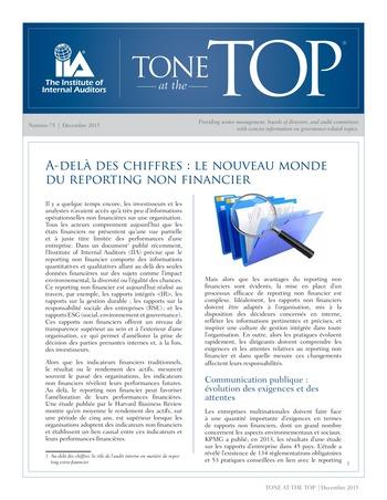 Tone at the top 75 - Au-delà des chiffres : le nouveau monde du reporting non financier / dec 2015 page 1
