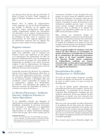 Tone at the top 75 - Au-delà des chiffres : le nouveau monde du reporting non financier / dec 2015 page 2