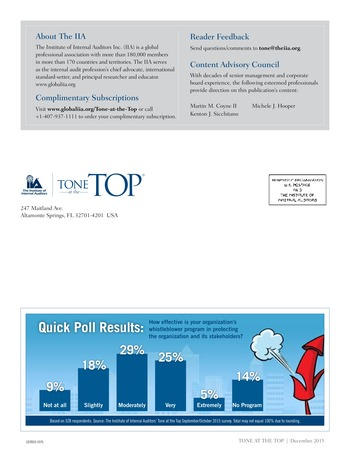 Tone at the top 75 - Au-delà des chiffres : le nouveau monde du reporting non financier / dec 2015 page 4