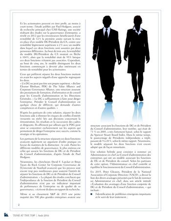 Tone at the top 78 - Président du Conseil d'Administration et Directeur Général : est-il préférable d'avoir deux dirigeants plutôt qu'un ? / août 2016 page 2