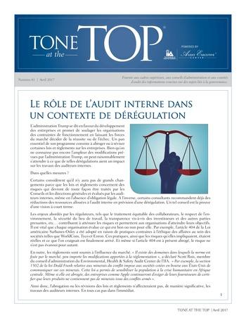 Tone at the top 81 - Le rôle de l'audit interne dans un contexte de dérégulation / avril 2017 page 1