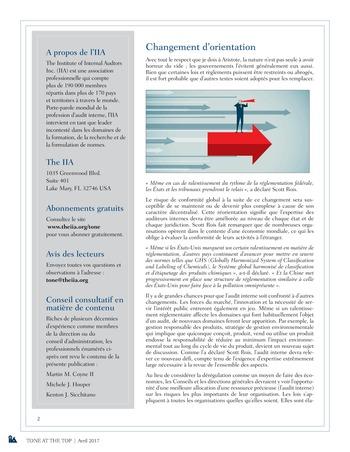 Tone at the top 81 - Le rôle de l'audit interne dans un contexte de dérégulation / avril 2017 page 2