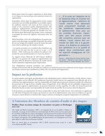 Tone at the top 81 - Le rôle de l'audit interne dans un contexte de dérégulation / avril 2017 page 3