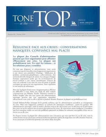 Tone at the top 86 - Résilience face aux crises : conversations manquées, confiance mal placée / mars 2018 page 1
