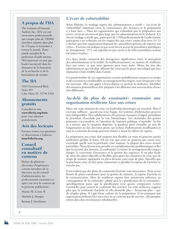 Tone at the top 86 - Résilience face aux crises : conversations manquées, confiance mal placée / mars 2018 page 2