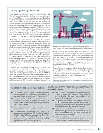 Tone at the top 86 - Résilience face aux crises : conversations manquées, confiance mal placée / mars 2018 page 3
