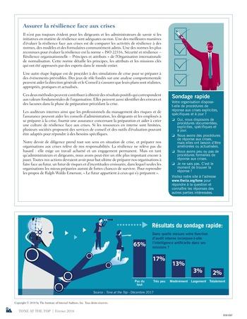 Tone at the top 86 - Résilience face aux crises : conversations manquées, confiance mal placée / mars 2018 page 4
