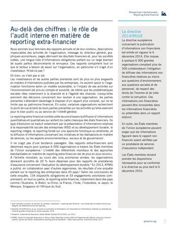 Perspectives internationales - Au-delà des chiffres : le rôle de l'audit interne en matière de reporting extra-financier page 3