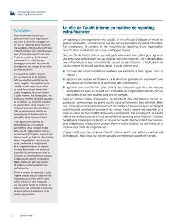 Perspectives internationales - Au-delà des chiffres : le rôle de l'audit interne en matière de reporting extra-financier page 4
