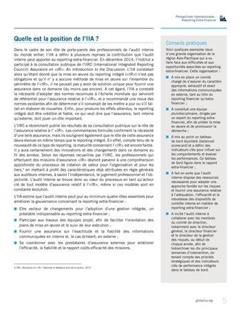 Perspectives internationales - Au-delà des chiffres : le rôle de l'audit interne en matière de reporting extra-financier page 5