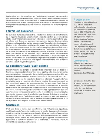 Perspectives internationales - Au-delà des chiffres : le rôle de l'audit interne en matière de reporting extra-financier page 7