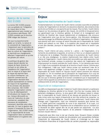 Perspectives internationales - Augmenter l'impact stratégique de l'audit interne page 10