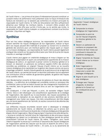 Perspectives internationales - Augmenter l'impact stratégique de l'audit interne page 11