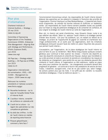 Perspectives internationales - Augmenter l'impact stratégique de l'audit interne page 12