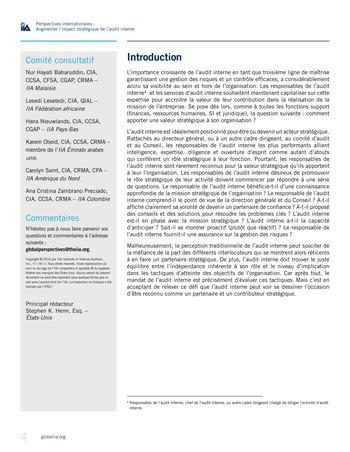 Perspectives internationales - Augmenter l'impact stratégique de l'audit interne page 4