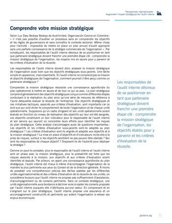 Perspectives internationales - Augmenter l'impact stratégique de l'audit interne page 5