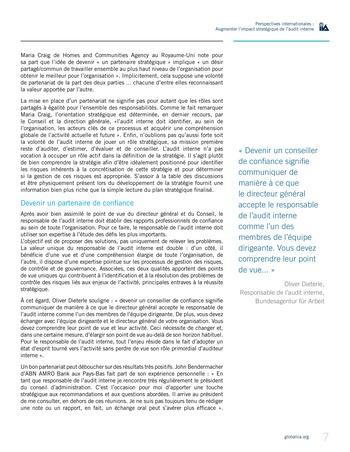 Perspectives internationales - Augmenter l'impact stratégique de l'audit interne page 7