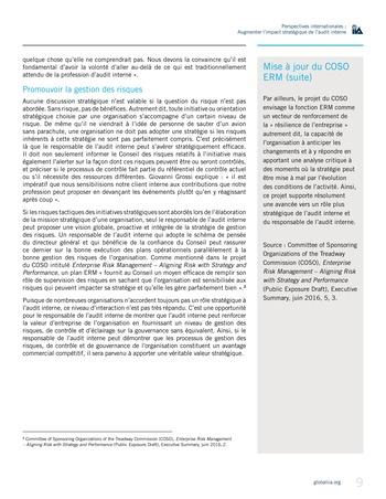 Perspectives internationales - Augmenter l'impact stratégique de l'audit interne page 9