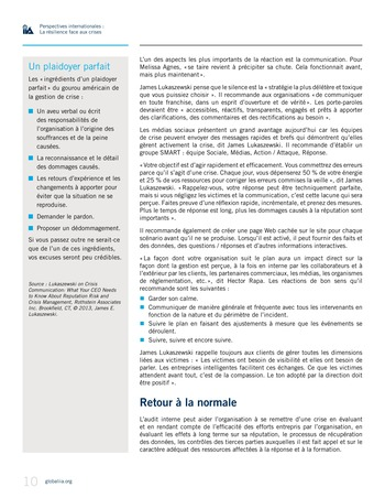 Perspectives internationales - La résilience face aux crises page 10