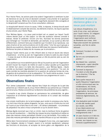 Perspectives internationales - La résilience face aux crises page 11