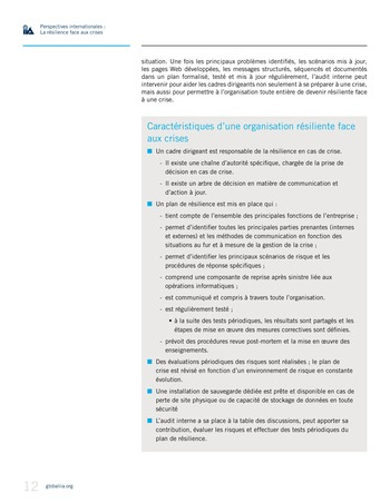 Perspectives internationales - La résilience face aux crises page 12