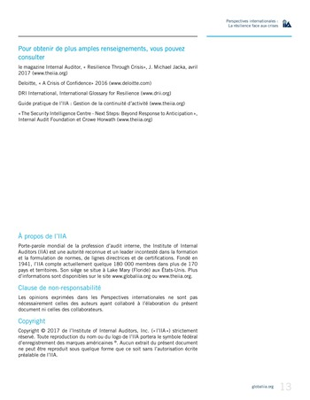 Perspectives internationales - La résilience face aux crises page 13