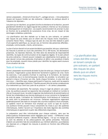 Perspectives internationales - La résilience face aux crises page 7