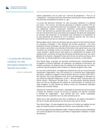 Perspectives internationales - La résilience face aux crises page 8