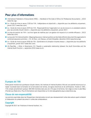 Perspectives - internationales - L'audit interne et l'audit externe page 10