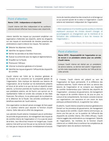 Perspectives - internationales - L'audit interne et l'audit externe page 6