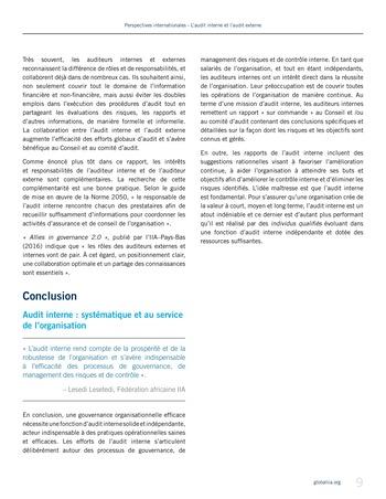 Perspectives - internationales - L'audit interne et l'audit externe page 9