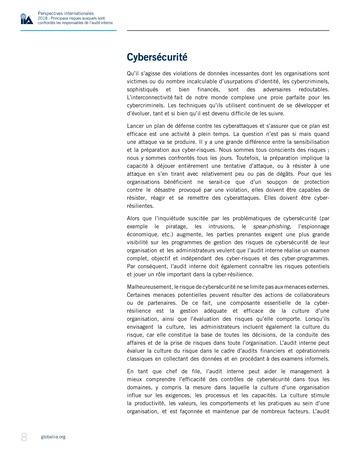 Perspectives internationales - 2018 : Principaux risques auxquels sont confrontés les responsables de l'audit interne page 10