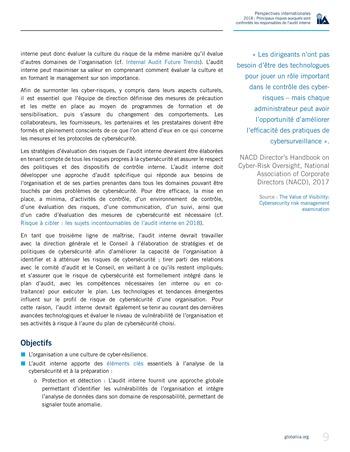 Perspectives internationales - 2018 : Principaux risques auxquels sont confrontés les responsables de l'audit interne page 11