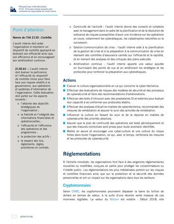 Perspectives internationales - 2018 : Principaux risques auxquels sont confrontés les responsables de l'audit interne page 12