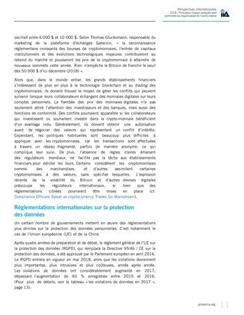 Perspectives internationales - 2018 : Principaux risques auxquels sont confrontés les responsables de l'audit interne page 13