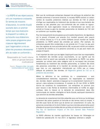 Perspectives internationales - 2018 : Principaux risques auxquels sont confrontés les responsables de l'audit interne page 14