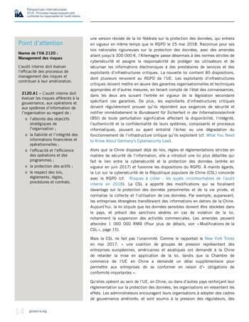Perspectives internationales - 2018 : Principaux risques auxquels sont confrontés les responsables de l'audit interne page 16