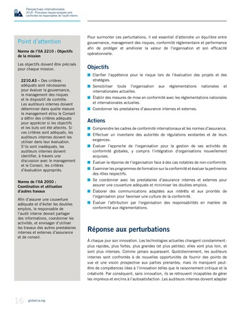 Perspectives internationales - 2018 : Principaux risques auxquels sont confrontés les responsables de l'audit interne page 18
