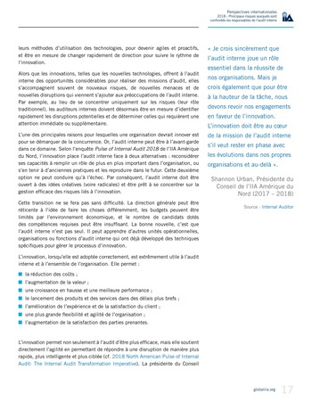 Perspectives internationales - 2018 : Principaux risques auxquels sont confrontés les responsables de l'audit interne page 19
