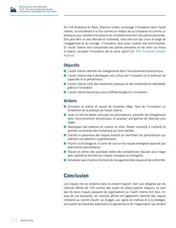 Perspectives internationales - 2018 : Principaux risques auxquels sont confrontés les responsables de l'audit interne page 20
