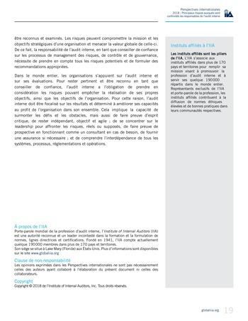 Perspectives internationales - 2018 : Principaux risques auxquels sont confrontés les responsables de l'audit interne page 21