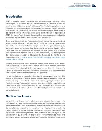 Perspectives internationales - 2018 : Principaux risques auxquels sont confrontés les responsables de l'audit interne page 3