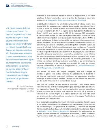 Perspectives internationales - 2018 : Principaux risques auxquels sont confrontés les responsables de l'audit interne page 4