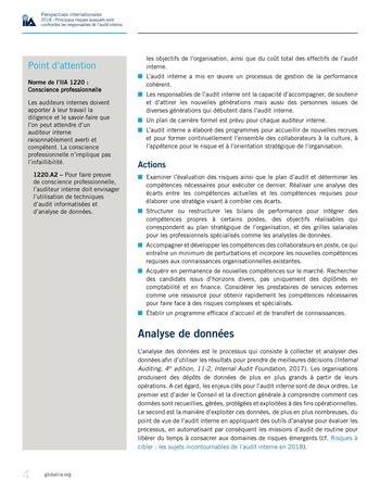 Perspectives internationales - 2018 : Principaux risques auxquels sont confrontés les responsables de l'audit interne page 6