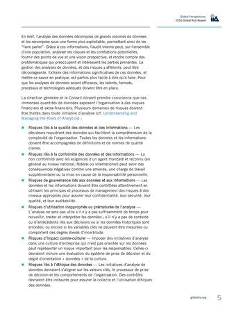 Perspectives internationales - 2018 : Principaux risques auxquels sont confrontés les responsables de l'audit interne page 7