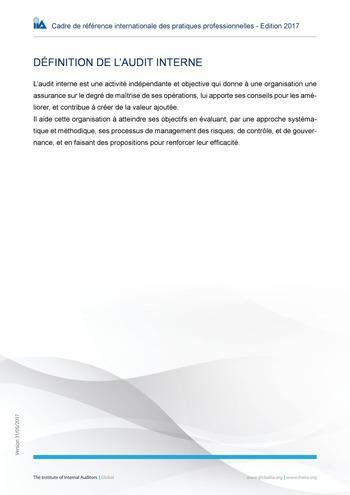 Définition de l'audit interne page 1