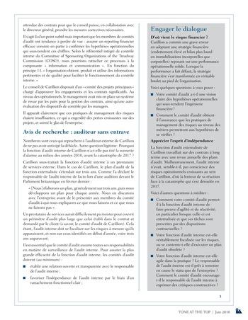Tone at the top 87 - La faillite de Carillion : incompréhension des risques et auditeurs sous contrainte / juin 2018 page 3