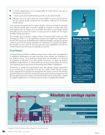 Tone at the top 87 - La faillite de Carillion : incompréhension des risques et auditeurs sous contrainte / juin 2018 page 4