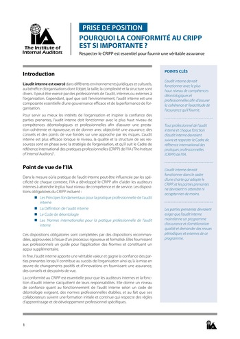 Prise de position - Pourquoi la conformité au CRIPP est si importante ? / IIA page 1