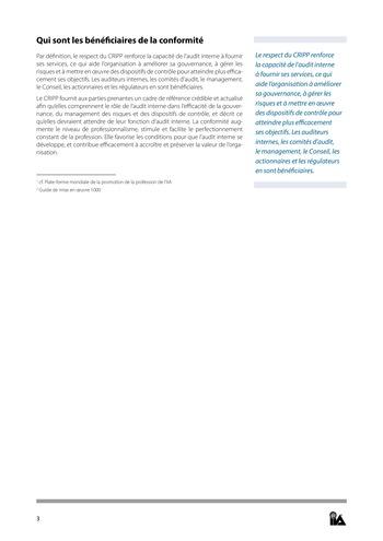 Prise de position - Pourquoi la conformité au CRIPP est si importante ? / IIA page 3